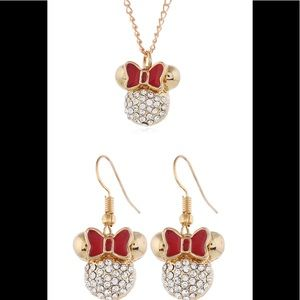 New Minnie Mouse Necklace and Earrings Set
